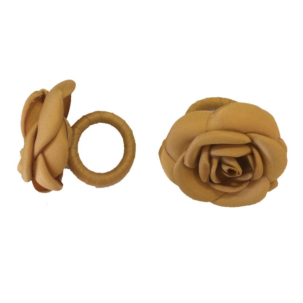 Argola para Guardanapos Rosas Cetim 2 Peças Dourada Copa & Cia