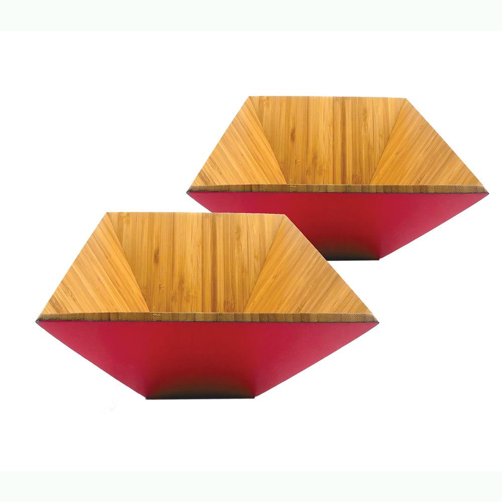 Conjunto de Saladeira Bamboo 2 Peças Vermelho Casserina