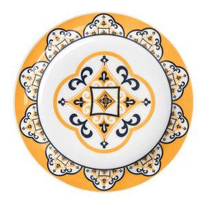 Prato-Sobremesa-Floreal-SAo-LuIs-20-cm-Azul-e-Amarelo-Oxford