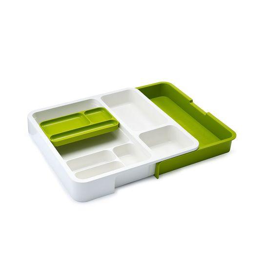 Organizador-Joseph-Joseph-para-Gaveta-com-Dispenser-de-Saquinhos-Branco-Verde