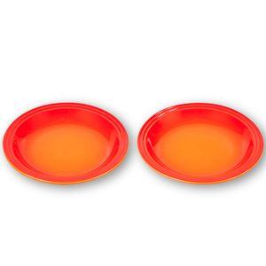 Pratos-Le-Creuset-Jogo-2-Pecas-Redondos-15-cm-Laranja
