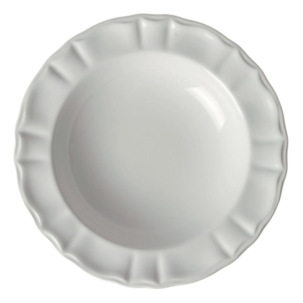 Conjunto de Pratos Fundo Neo Clássico Cerâmica 6 Peças Branco Casa Alegre