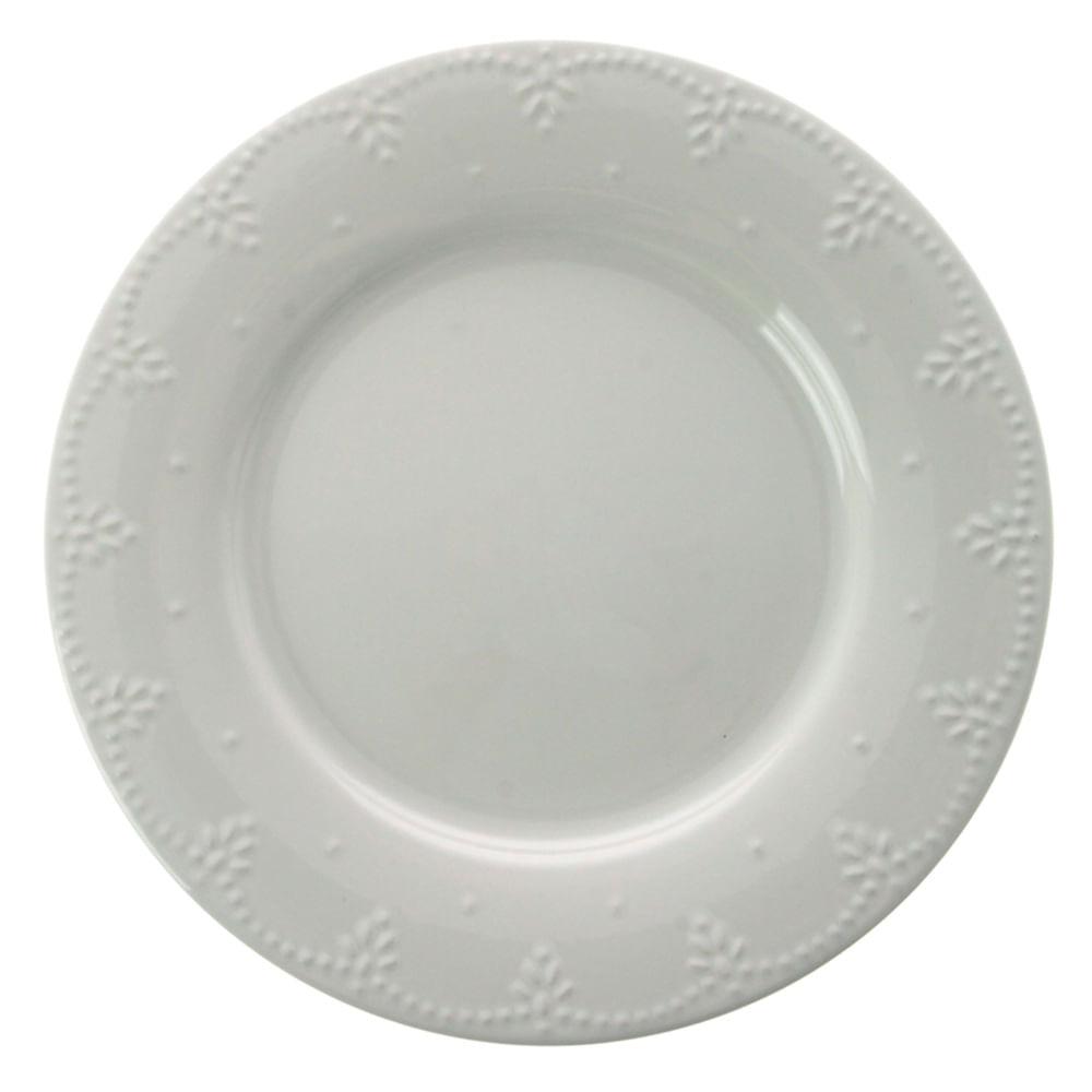Conjunto de Pratos Sobremesa Pearls Cerâmica 6 Peças Branco Casa Alegre