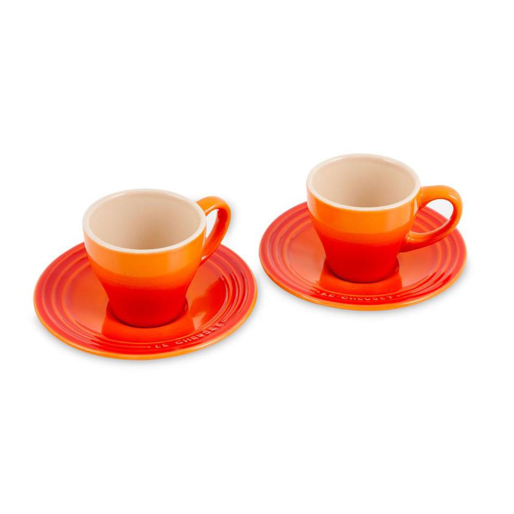 Conj 2 Xícaras Espresso com Pires Laranja Le Creuset