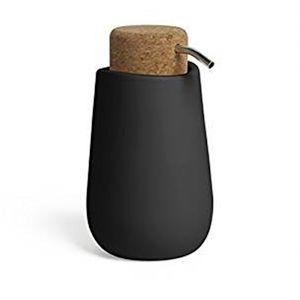 Porta-Sabonete-Liquido-Kera-Cor-Preta-em-Cork-Umbra