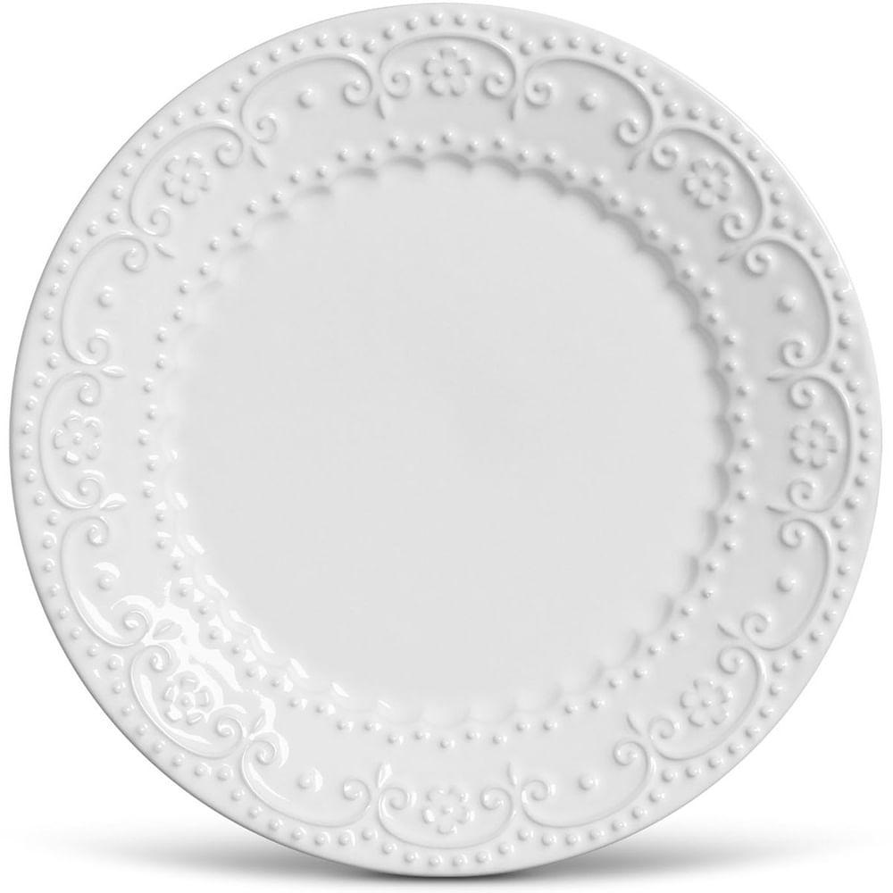 Prato Sobremesa Esparta Cerâmica 6 Peças Branco Porto Brasil