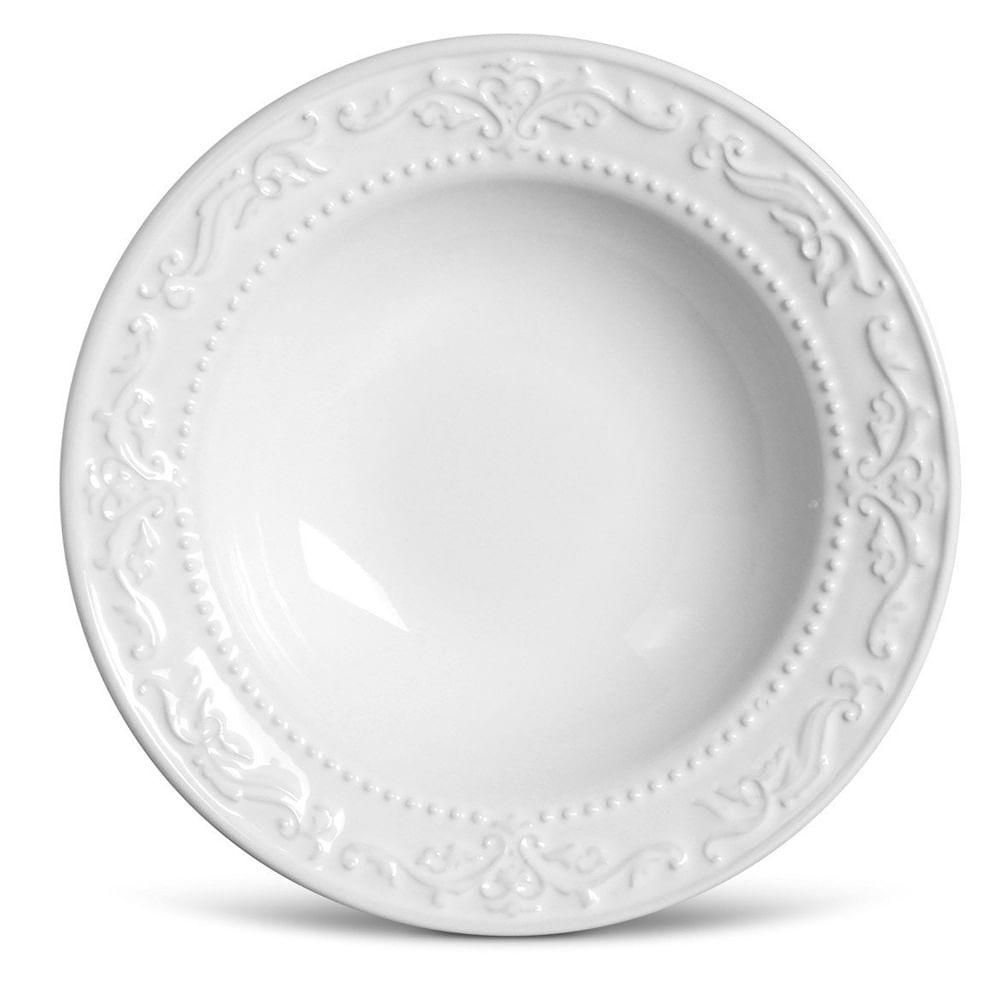 Prato Fundo Acanthus Cerâmica 6 Peças Branco Porto Brasil