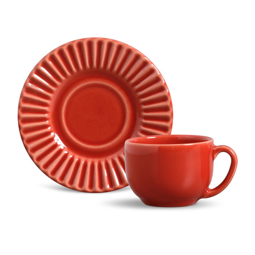 Xícara de Chá Plissé Cerâmica 6 Peças Vermelho Porto Brasil