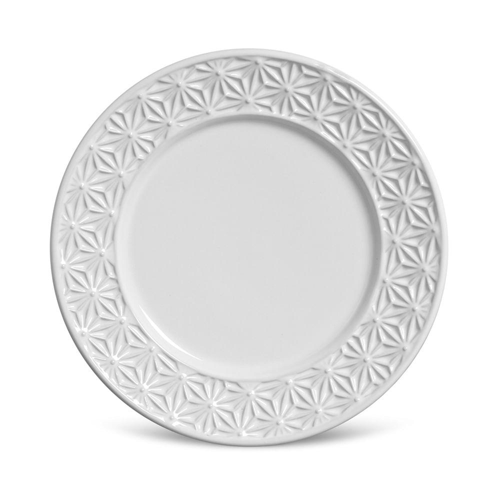 Prato Sobremesa Manish Cerâmica 6 Peças Branco Porto Brasil
