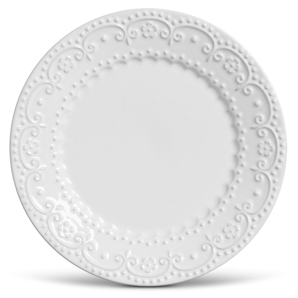 Prato Raso Esparta Cerâmica 6 Peças Branco Porto Brasil