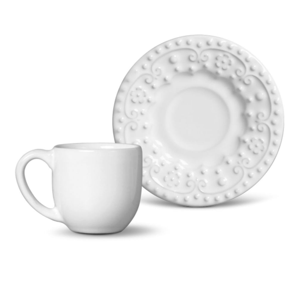 Xícara de Café Esparta Cerâmica 6 Peças Branco Porto Brasil