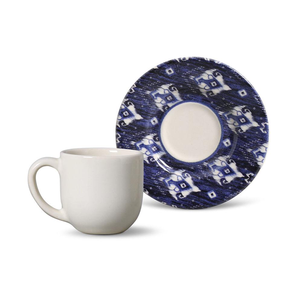 Xícara de Café Mônaco Ikat Blue Cerâmica 6 Peças Porto Brasil