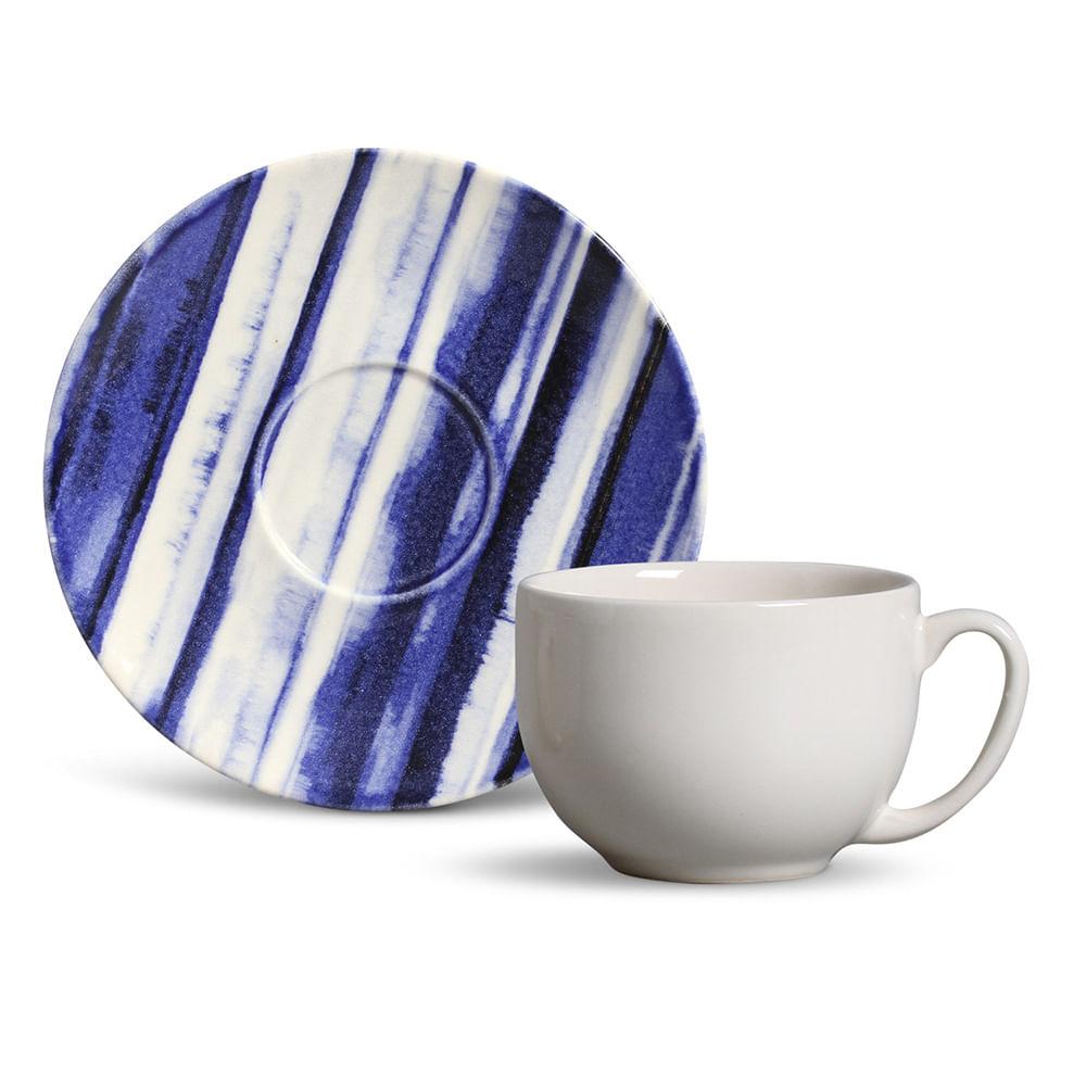 Xícara de Chá Coup Stripes Cerâmica 6 Peças Porto Brasil