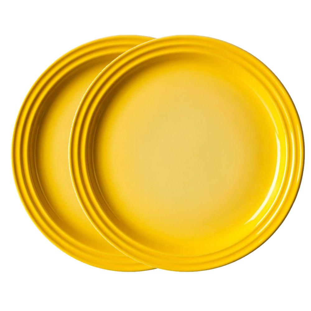 Prato Redondo 27 cm 2 Peças Amarelo Soleil Le Creuset