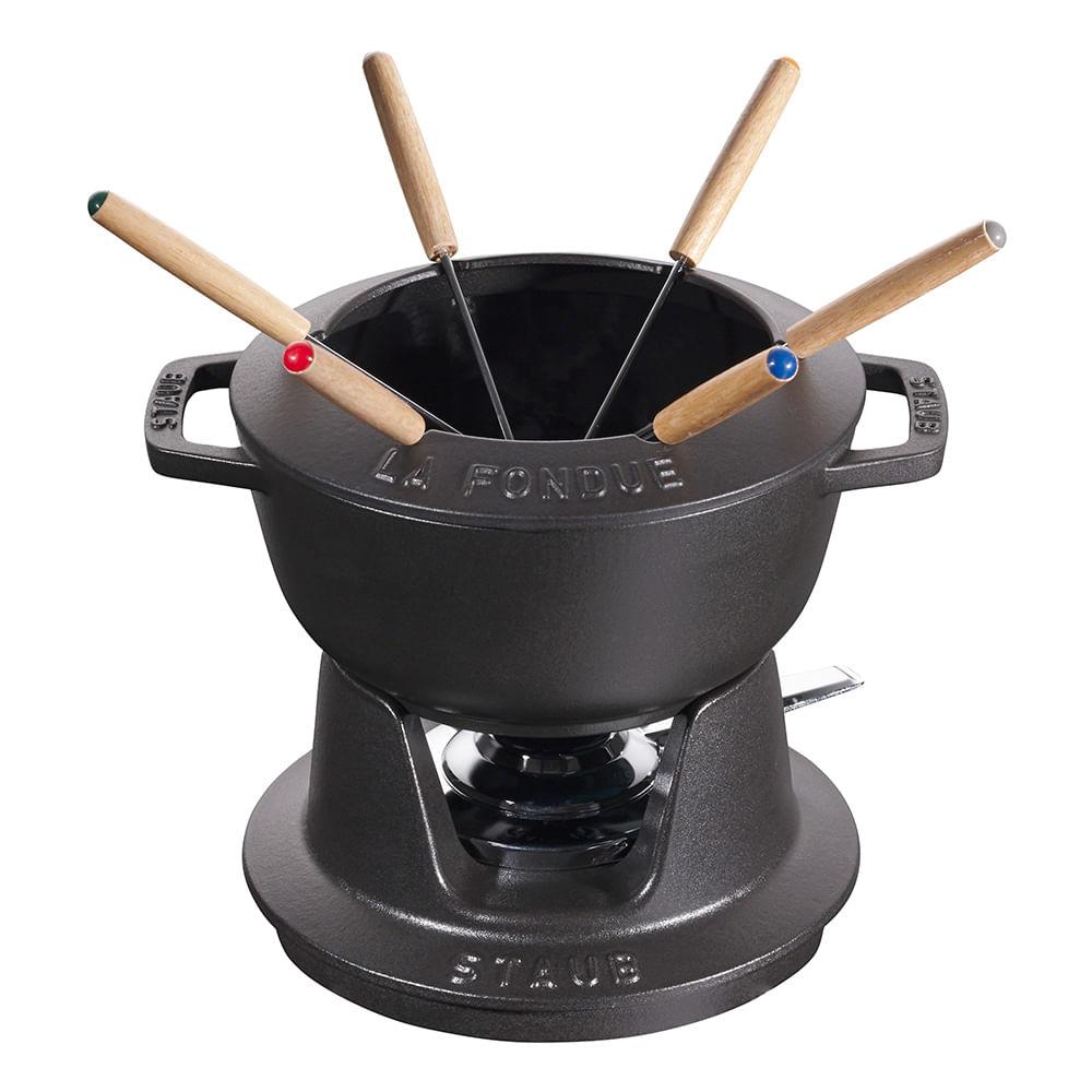 Fondue para Queijo Carne Ou Chocolate 18 cm Ferro Fundido Preto Staub