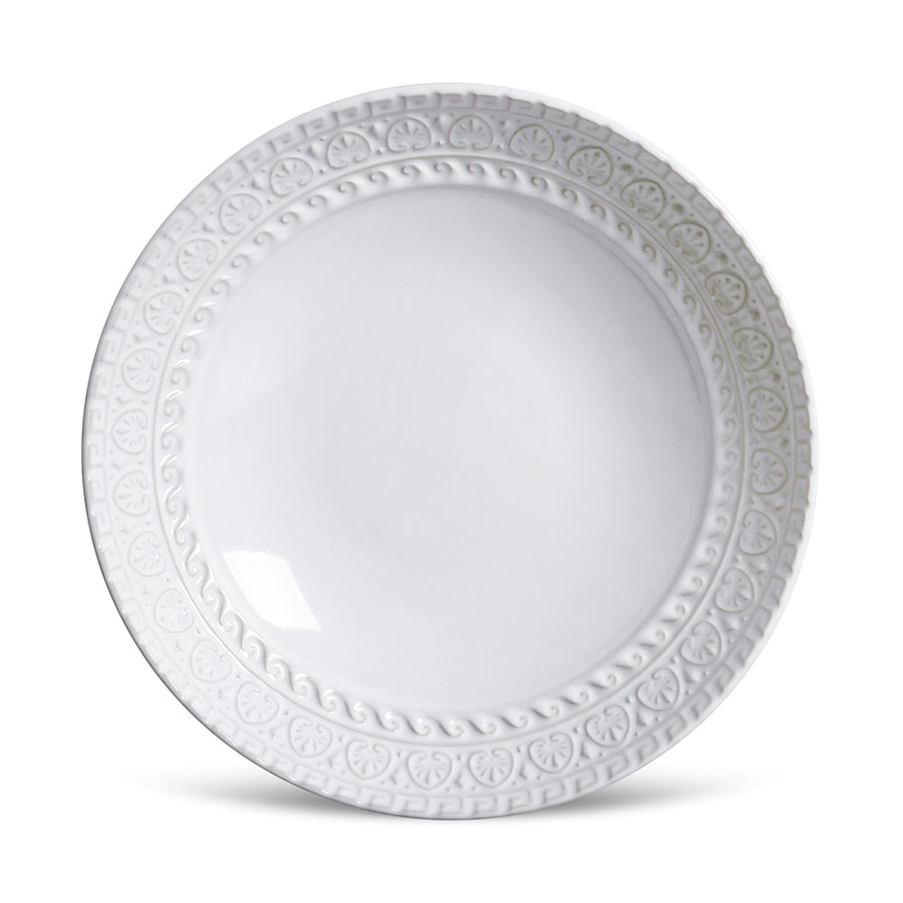 Prato Fundo Greek Cerâmica 6 Peças Branco Porto Brasil