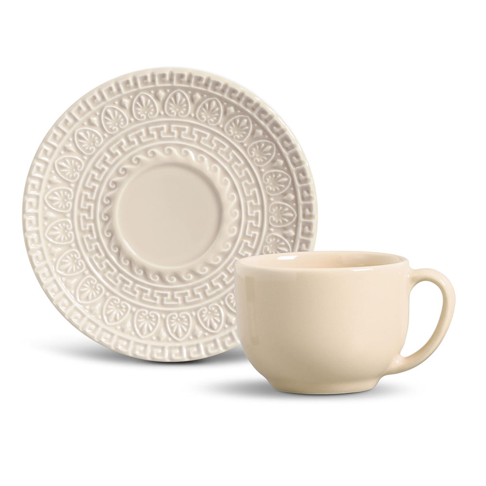 Xícara de Chá Greek Cerâmica 6 Peças Cru Porto Brasil