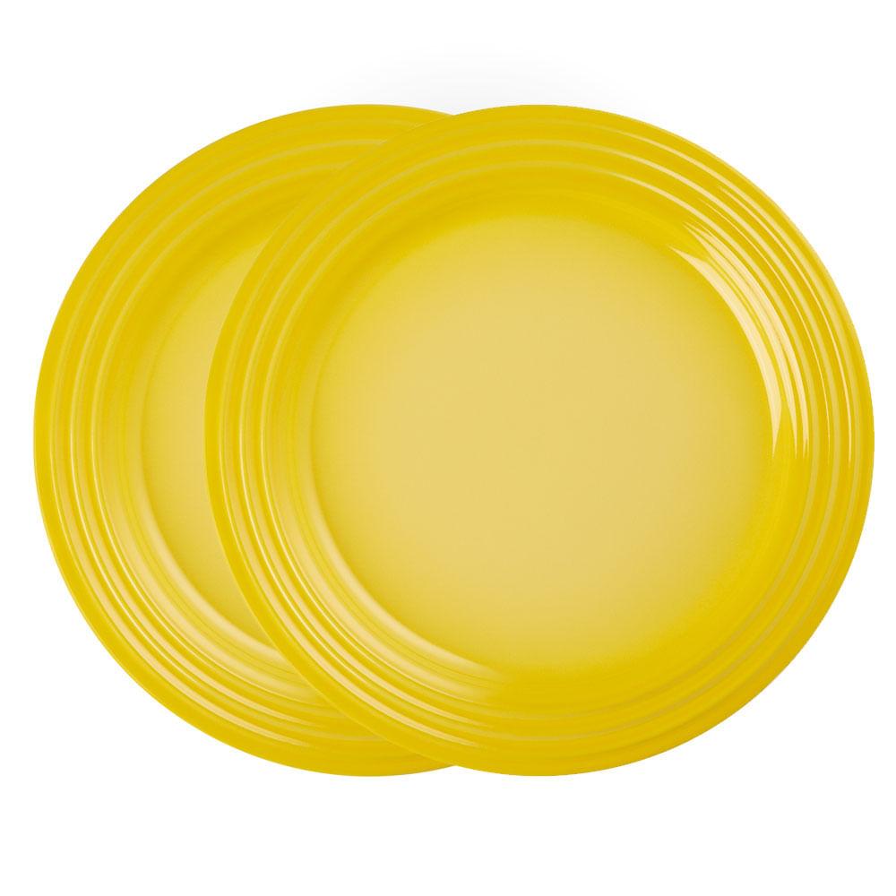 Prato Redondo 22 cm 2 Peças Amarelo Soleil Le Creuset