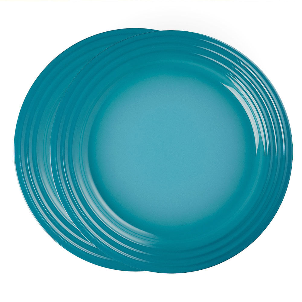 Prato Redondo 22 cm 2 Peças Azul Caribe Le Creuset
