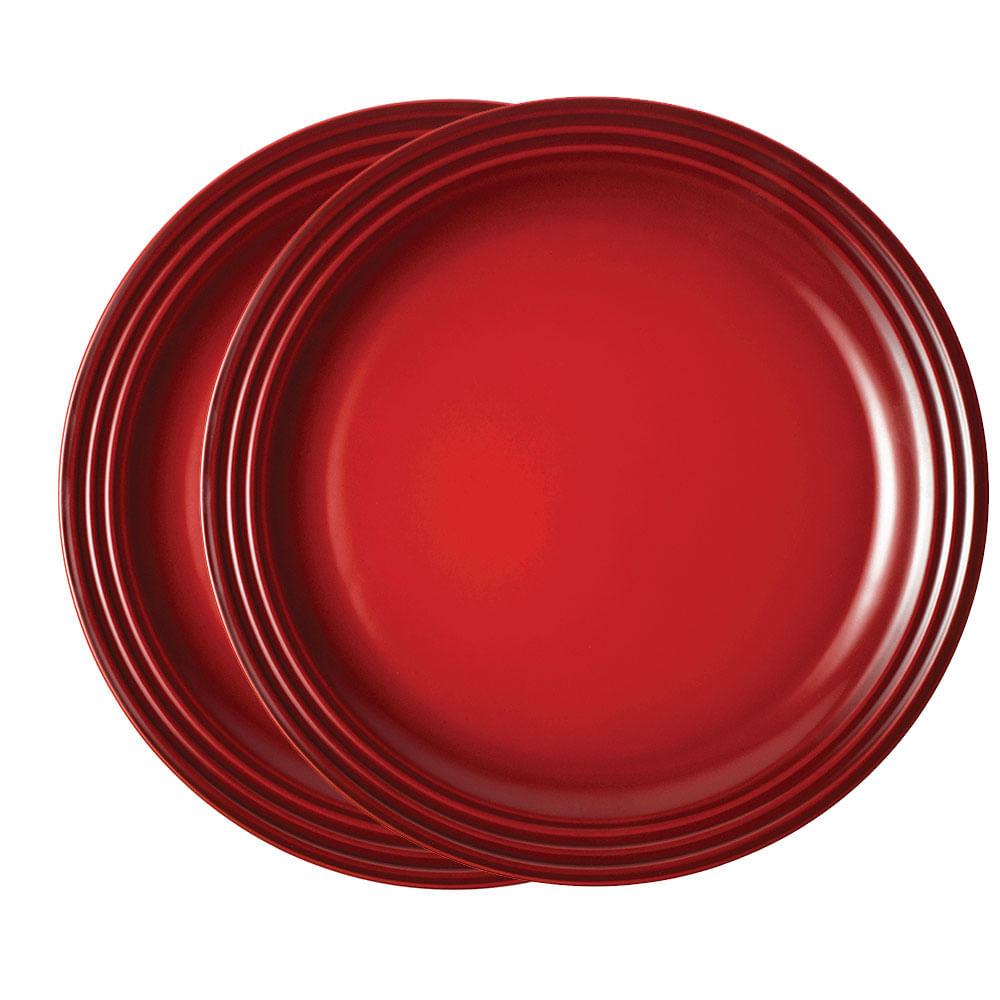 Prato Redondo 22 cm 2 Peças Vermelho Le Creuset