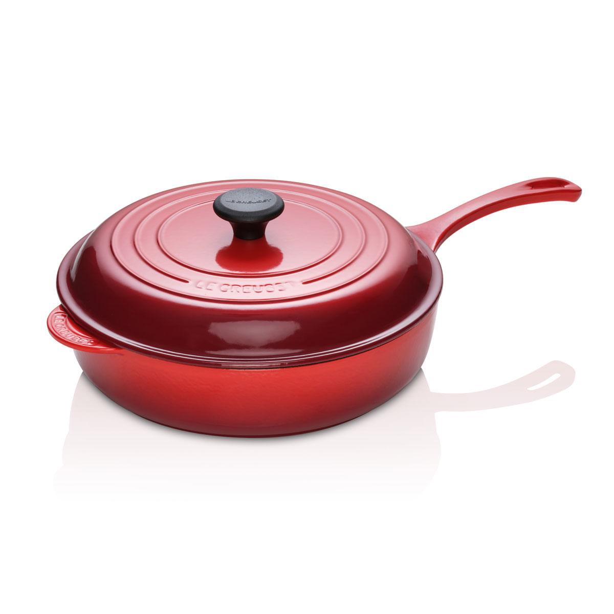 Frigideira Sauté Pegador Aço Inox 30 cm Vermelho Le Creuset