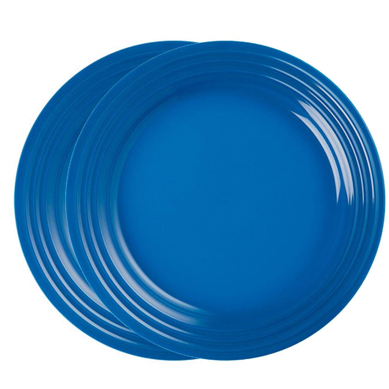 Prato Redondo Raso 27 cm Azul Marseille 2 Peças Le Creuset