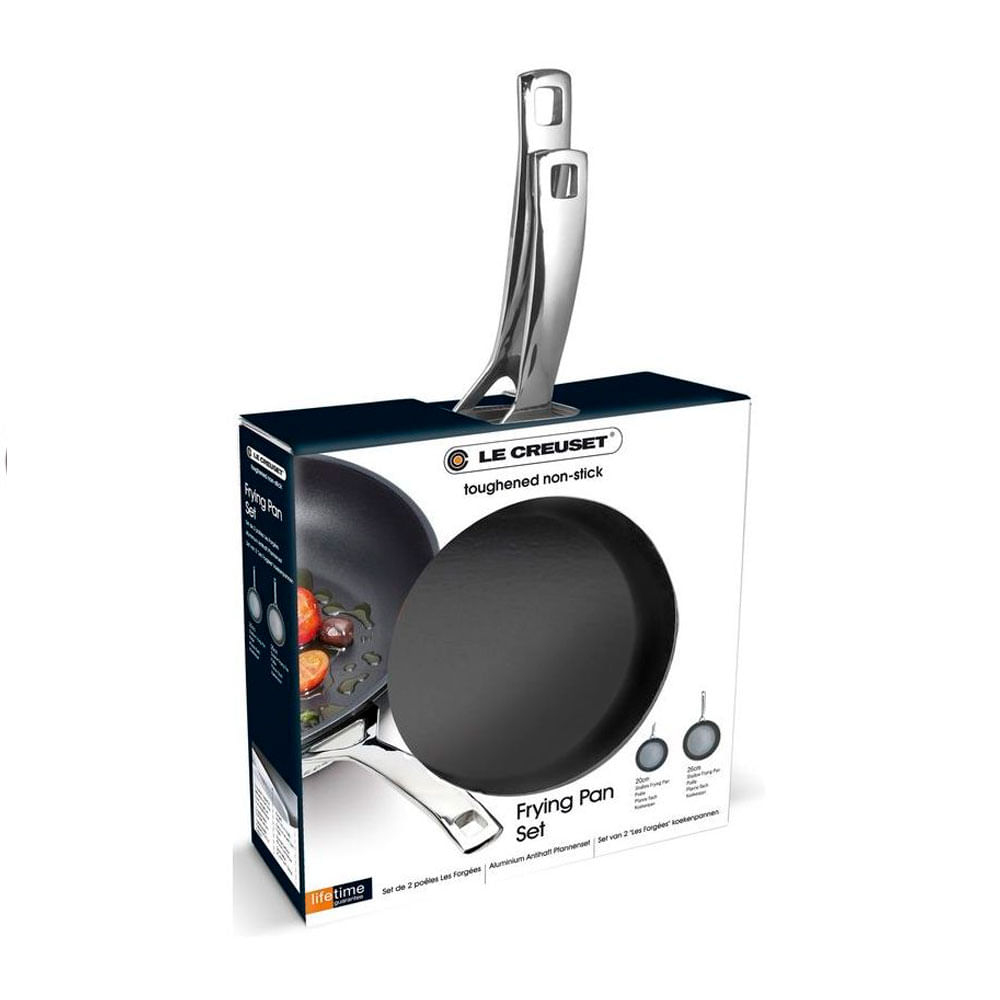 Conjunto 2 Frigideiras Rasa Non Stick Alumínio e Aço Inox 24 e 28 cm Preto Le Creuset